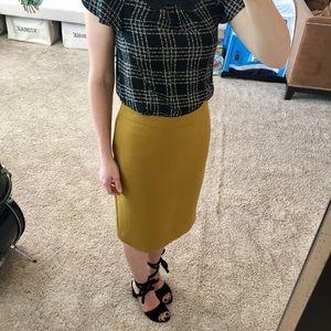 J crew yellow wool skirt size 6